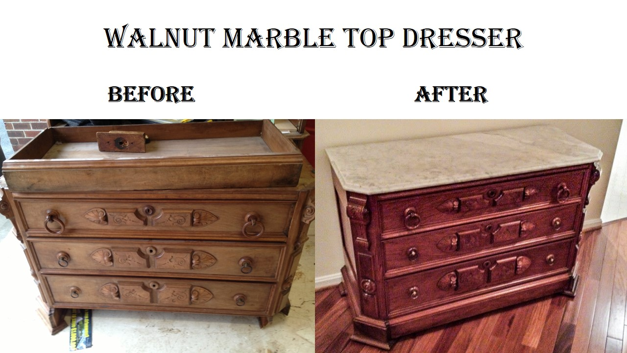 Walnut Marble Top Dresser